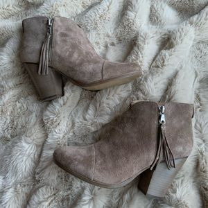 Rag and Bone Margot Fringe Suede Booties Stone